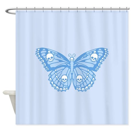 blue skull butterfly shower curtain by maliceblue