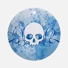 Blue Skull Spatters And Swirls Ornament (Round)