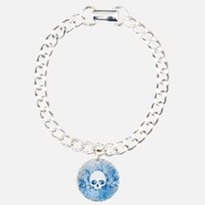 Blue Skull Spatters And Swirls Bracelet