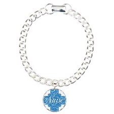 Lacy Blue Nurse Cross Charm Bracelet, One Charm