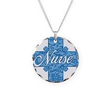 Lacy Blue Nurse Cross Necklace Circle Charm
