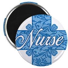 Lacy Blue Nurse Cross Magnet