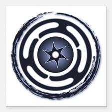 """Blue Hecate's Wheel Square Car Magnet 3"""" x 3"""""""