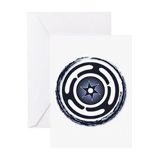 Blue Hecate's Wheel Greeting Card