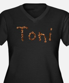 Toni Coffee Beans Women's Plus Size V-Neck Dark T-