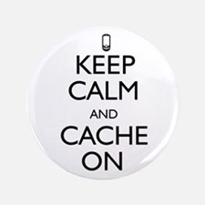 """Keep Calm and Cache On 3.5"""" Button"""