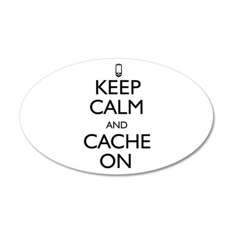 Keep Calm and Cache On 20x12 Oval Wall Decal