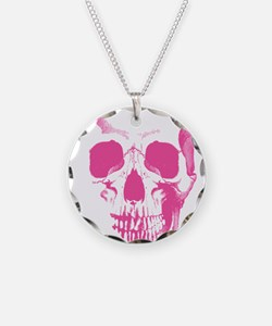 Pink Skull Face Necklace