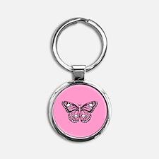 Pink Skull Butterfly Round Keychain