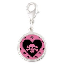 Pink Skull And Crossbones Heart Silver Round Charm