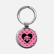 Pink Skull And Crossbones Heart Round Keychain