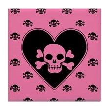 Pink Skull And Crossbones Heart Tile Coaster