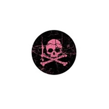 Cracked Pink Skull And Crossbones Mini Button