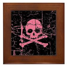 Cracked Pink Skull And Crossbones Framed Tile
