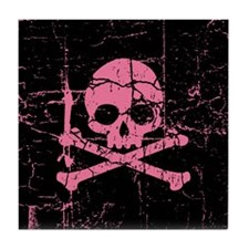 Cracked Pink Skull And Crossbones Tile Coaster