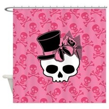 Cute Skull Top Hat And Pink Bow Shower Curtain