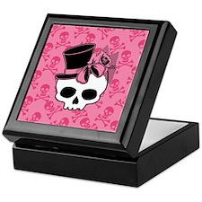 Cute Skull Top Hat And Pink Bow Keepsake Box