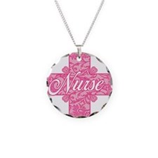 Pink Nurse Lacy Cross Necklace Circle Charm