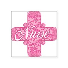 "Pink Nurse Lacy Cross Square Sticker 3"" x 3"""
