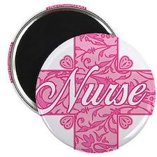 Pink Nurse Lacy Cross Magnet