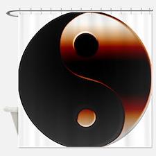 Metallic Yin-Yang Symbol Shower Curtain