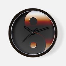 Metallic Yin-Yang Symbol Wall Clock