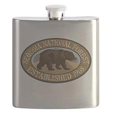 Sequoia Brown Bear Badge Flask