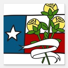 "Texas Yellow Roses Square Car Magnet 3"" x 3"""
