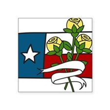 """Texas Yellow Roses Square Sticker 3"""" x 3"""""""