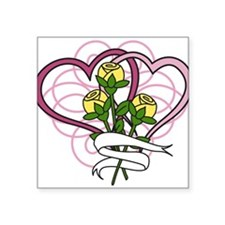"""Hearts And Roses Square Sticker 3"""" x 3"""""""