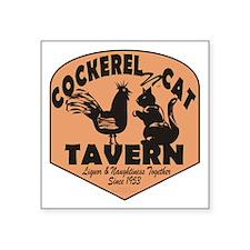 "Cockerel N Cat Tavern Square Sticker 3"" x 3"""