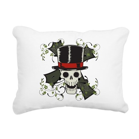 TOP HAT-SKULL CROSS Rectangular Canvas Pillow