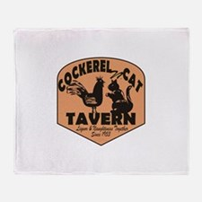 Cockerel N Cat Tavern Throw Blanket