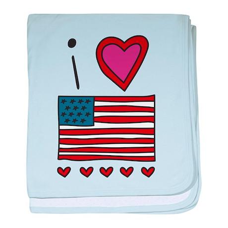 I Love America baby blanket