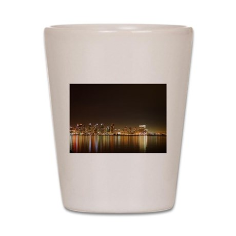 San Diego Skyline Night Shot Glass