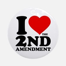 I Heart the 2nd Amendment Round Ornament