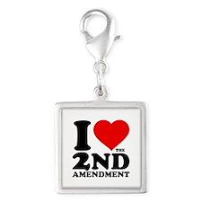 I Heart the 2nd Amendment Silver Square Charm