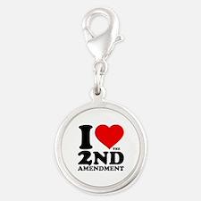 I Heart the 2nd Amendment Silver Round Charm