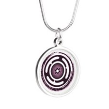 Purple Hecate's Wheel Silver Round Necklace