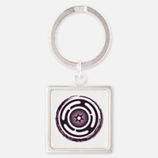 Purple Hecate's Wheel Square Keychain