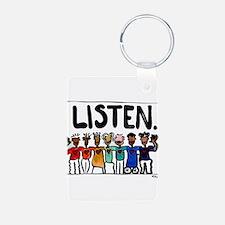 Listen Aluminum Photo Keychain