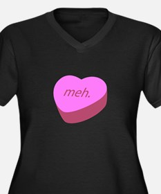 Meh_Heart.png Women's Plus Size V-Neck Dark T-Shir