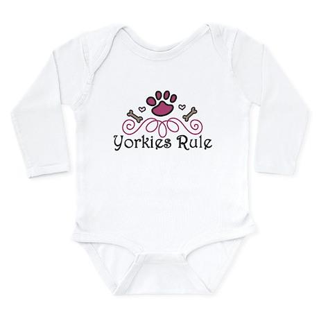 Yorkies Rule Long Sleeve Infant Bodysuit