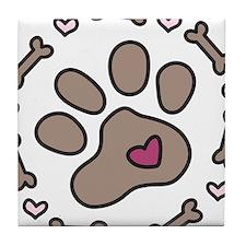 Dog Bone Circle Tile Coaster