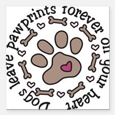 "Pawprints Square Car Magnet 3"" x 3"""