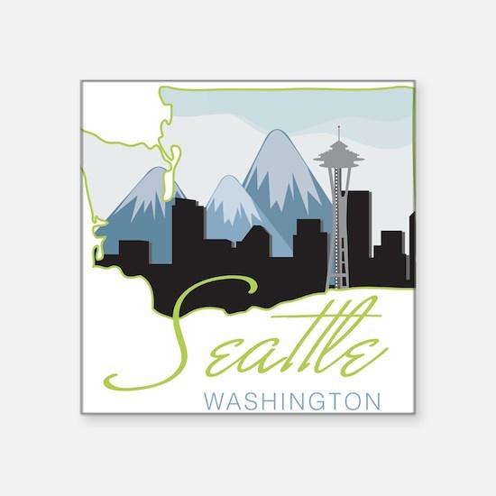 "Seatle Washington Square Sticker 3"" x 3"""