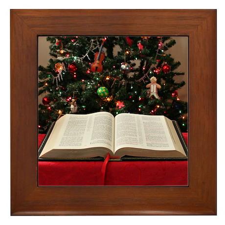 Bible and Christmas Tree Framed Tile