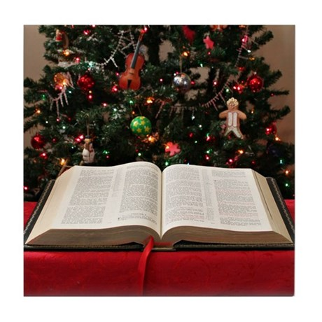 Bible and Christmas Tree Tile Coaster