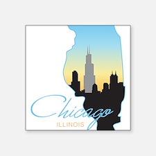 """Chicago Illinois Square Sticker 3"""" x 3"""""""