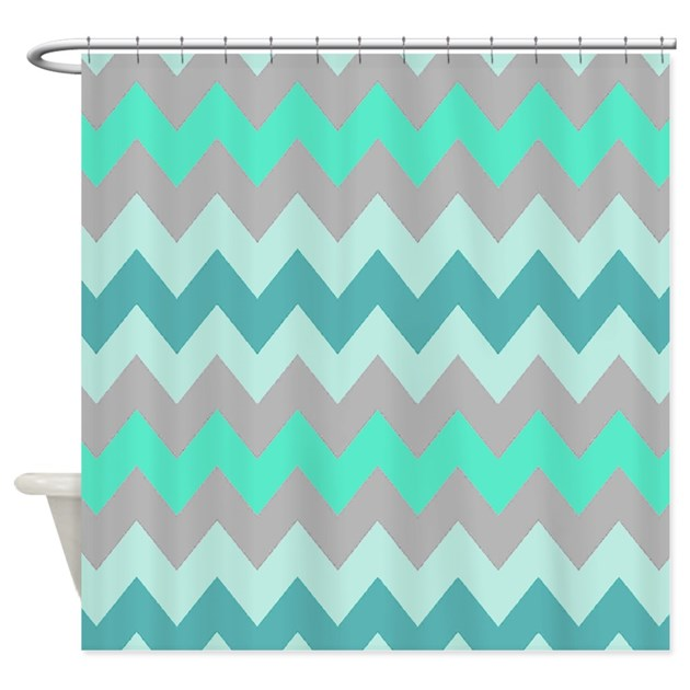 Shades Of Teal Chevron Shower Curtain By Chevroncitystripes